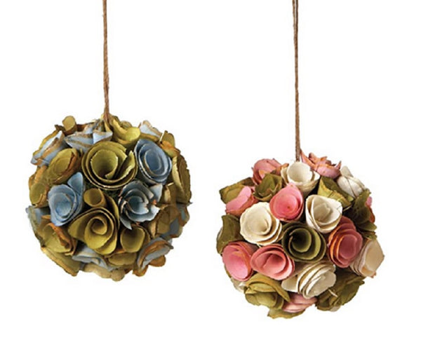Spring Floral Bouqet Ball Ornaments Set of 2