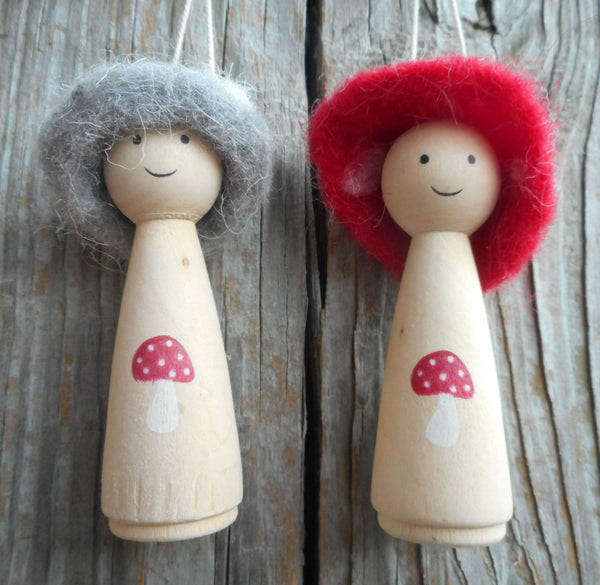 Silver Tree Red and Grey Mushroom Topped People Ornaments Set of 2