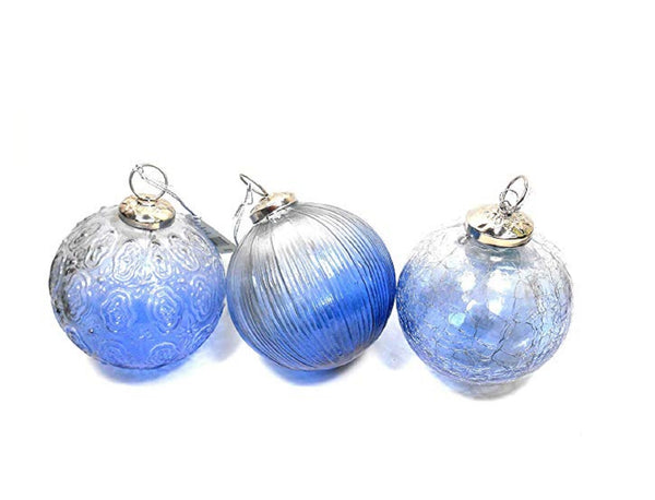 Midwest-CBK Large Blue Glass Kuegel Ornaments Set of 3