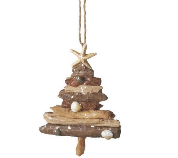 Coastal Beach Driftwood Christmas Tree Ornament