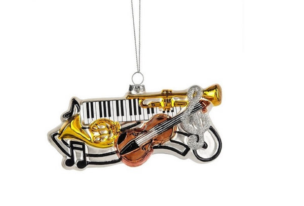 Midwest-CBK Musical Instrument Collage Glass Ornament