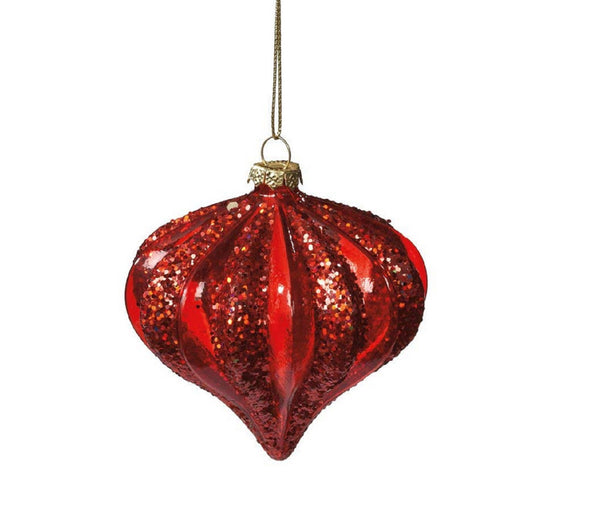 Red Onion Glass Glitter Ornament