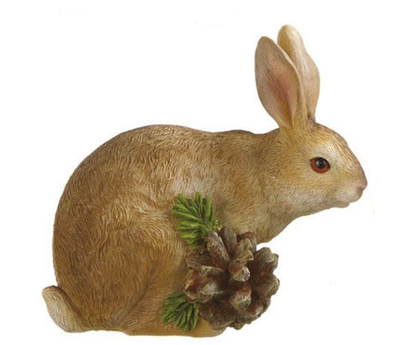 Midwest CBK Resin Brown Rabbit Bunny with Pine Cone Figurine