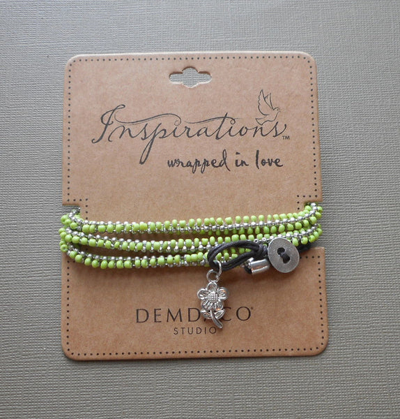 Inspirations Wrapped in Love Lime Green Bracelet by Demdaco