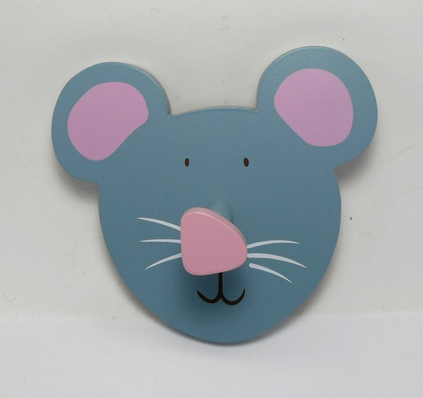 Midwest Grey Mouse Head Wooden Wall Hook