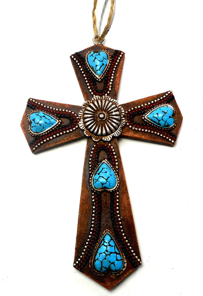Turquoise Stone Embellished Brown Cross Polyresin Ornament