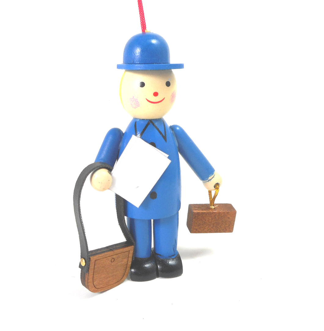 Blue Postal Carrier Wooden Ornament by Midwest-CBK