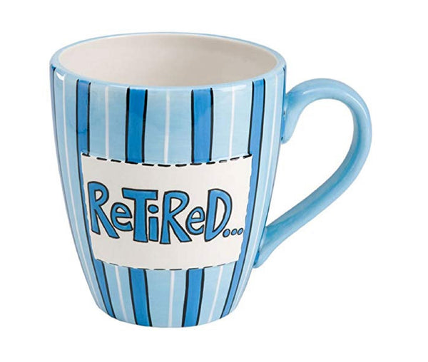 Enesco Our Name is Mud Retired Blue and White Striped Mug Funny