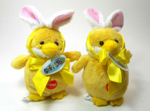 Ganz Easter Bunny Yellow Chick with Ears Ganz Soft Spots Plush Bundle of 2