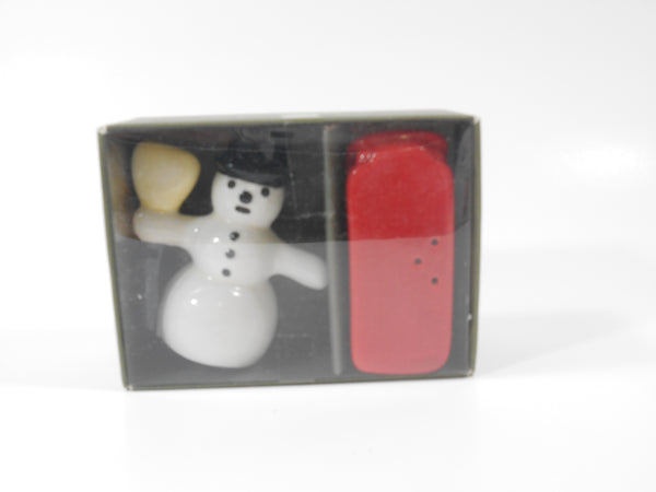 Midwest CBK Red and White Snowman and Red Sled Salt and Pepper Shakers