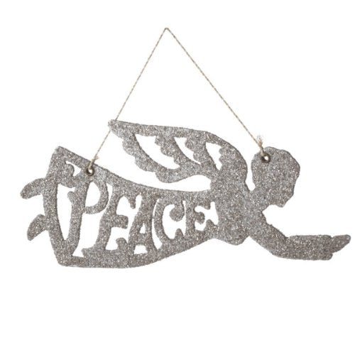 Wendy Addison Peace Angel Glitter Glass Christmas Ornament by Midwest-CBK