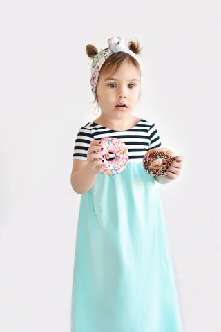 Toddler in Maxi Dress and donuts