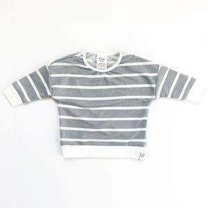 Grey Stripe Lounge Sweater - Ready To Ship