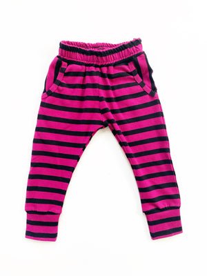 Raspberry Stripe Pocket Joggers - Magenta Stripe - Ready To Ship