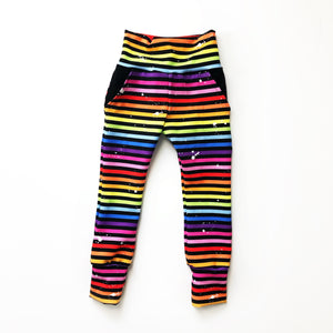 Rainbow Splatter Stripes - Big Kid Sizes - 6/8/10