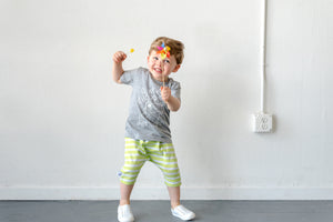 Green Apple Stripe Shorts - Skirted Bummies - Pants