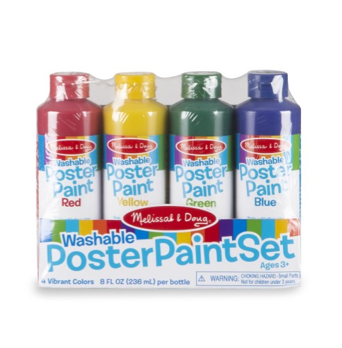 Poster Paint Set (4 pcs) - Red, Yellow, Blue, Green