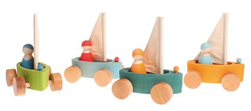 Grimm's Set of 4 Little Land Yachts with Sailors