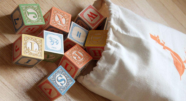Classic ABC Blocks with Canvas Bag - Handmade in USA (28 pieces)