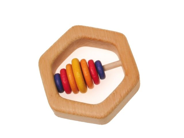Hexagonal Teething, Clutching, Rattle - Grimm's (Handmade in Germany)