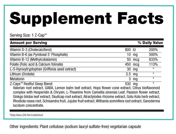 Z-Caps Supplement Facts