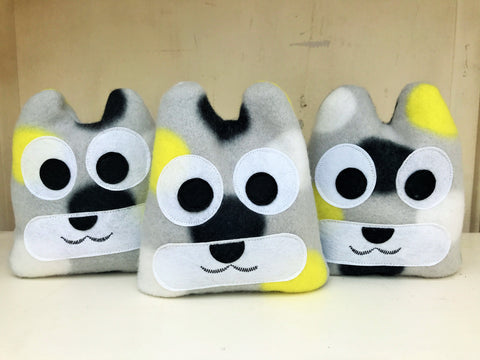 Hot or cold pack - gray, black and yellow bear