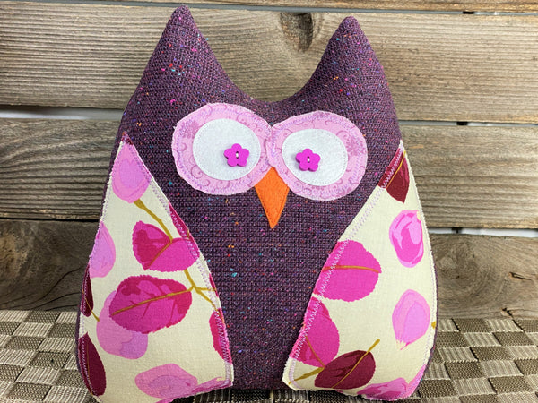 Purple owl pillow with plum magenta and lavender leaf accents