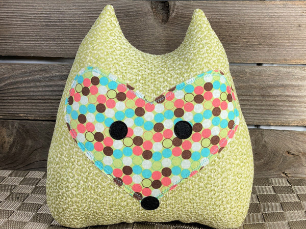 Spring green cat pillow with aqua brown and melon polka dots