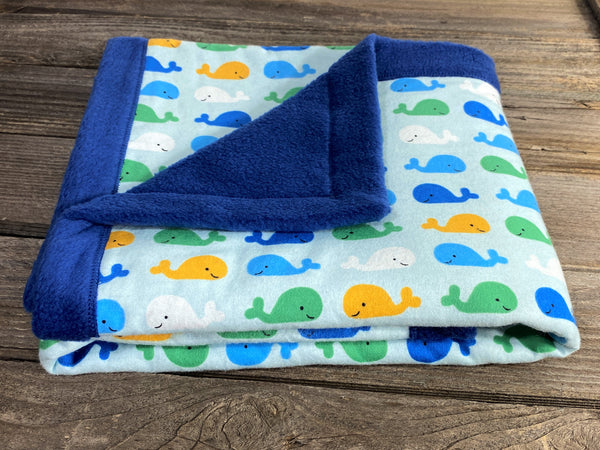 All purpose baby mat with blue green and yellow whales and navy blue backing