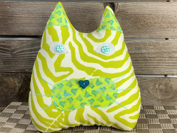 Lime green animal print cat shaped pillow