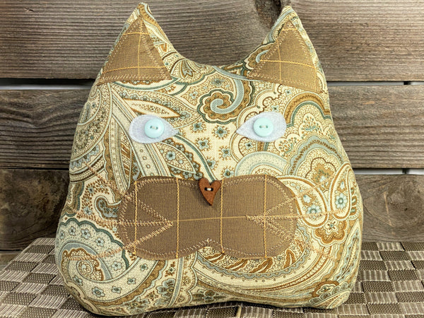 Taupe paisley cat shaped pillow