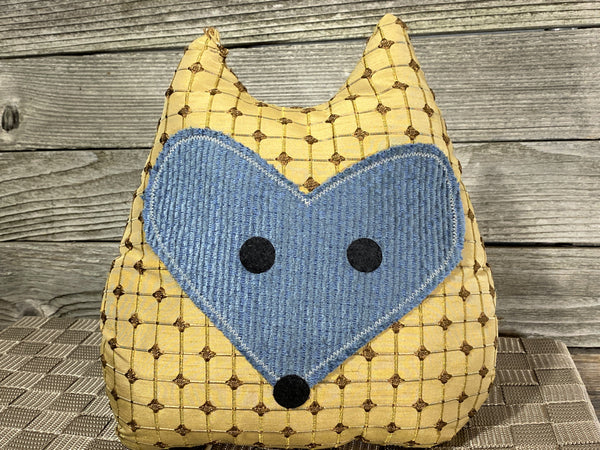 Beige checked fox pillow with blue striped fabric