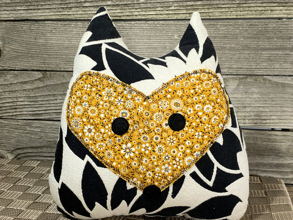 Black and white fox pillow with dijon yellow floral print