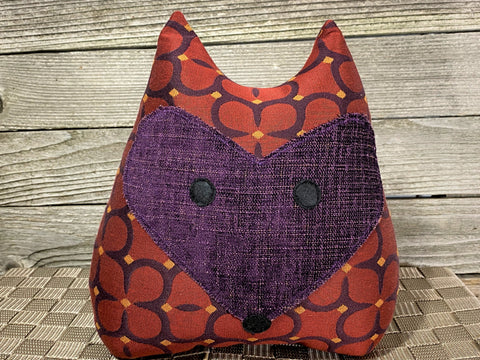 Fox pillow in reds and violets