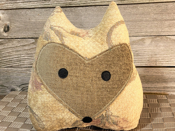 Vintage fabric fox pillow with beige, olive,and mauve