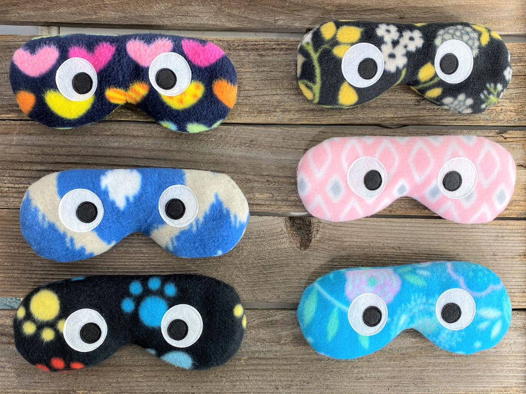 Microwave and freezer safe eye masks in a variety of colors and patterns
