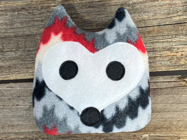 Red gray and black chevron fox for use as hot or cold pack