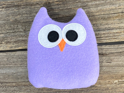Lavender owl for use as hot or cold pack