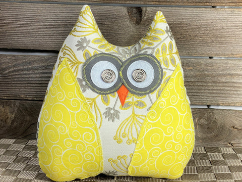 Yellow white and gray floral owl pillow with yellow accents