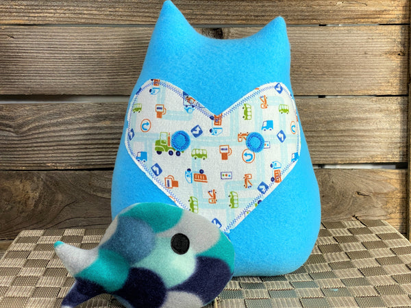 Blue fox pillow with trucks and a blue fish hot and cold pack
