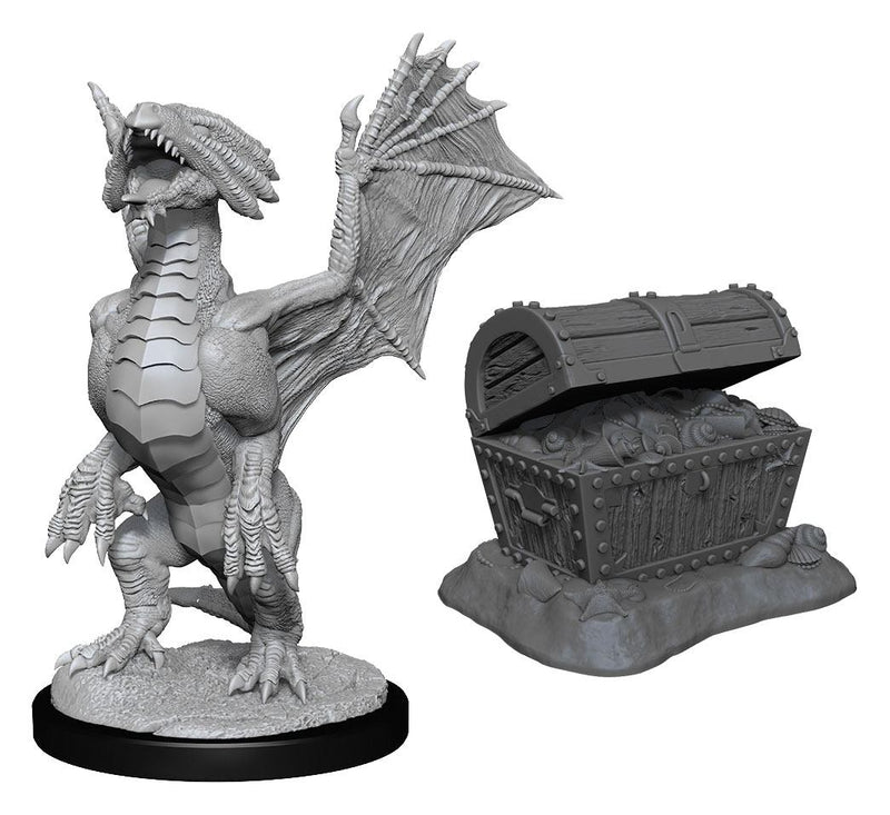 Bronze Dragon Wyrmling & Pile of Sea Found Treasure: D&D Nolzur's Marvelous Miniatures (W13) by Wiz Kids LLC - Beanie Games