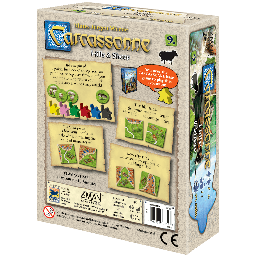 Carcassonne Expansion 9: Hills & Sheep Z Man Games, Board Games Beanie Games