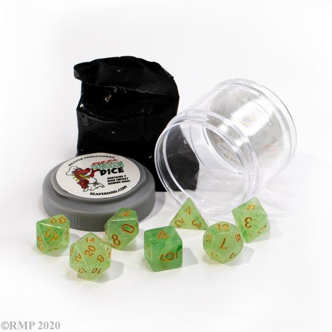 Pizza Dungeon Dice: 'Lucky' Dice - Gem Green Reaper Miniatures, Dice Beanie Games