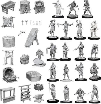 Townspeople and Accessories: D&D Deep Cuts Unpainted Miniatures Wiz Kids LLC, RPG Miniatures Beanie Games
