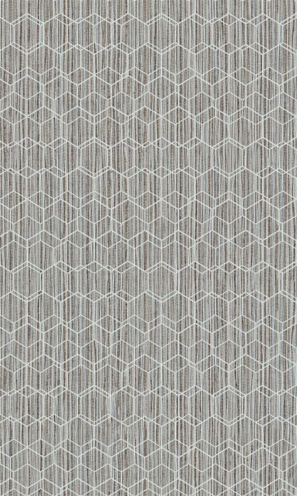 Dimension Neutral & White Geometric Overlaid Faux Grasscloth 219620