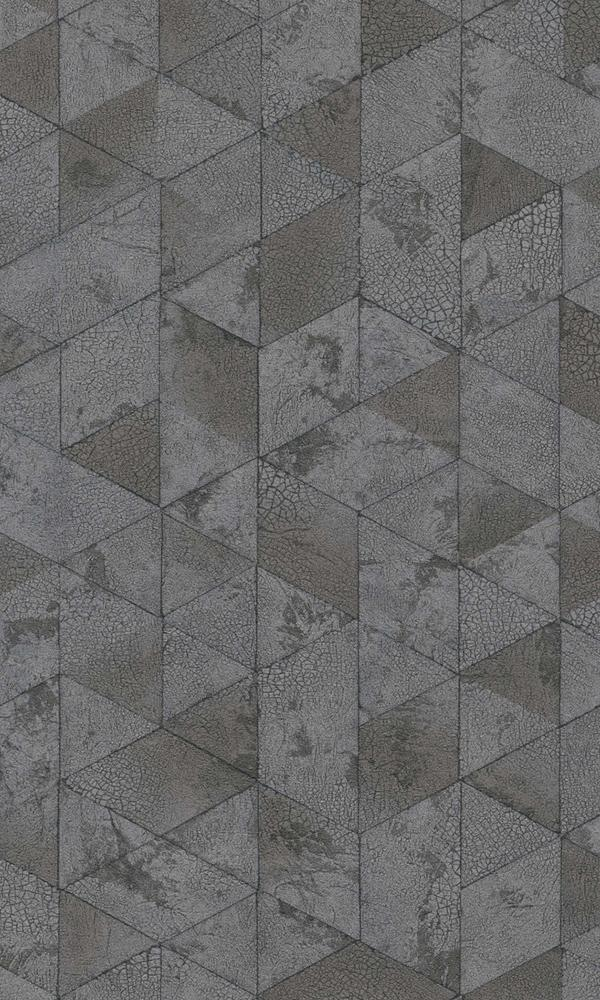 Material World Dark Grey Crackled Hexagons 219804