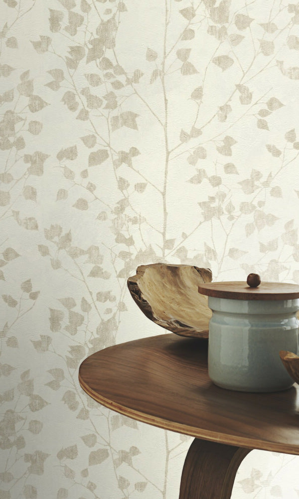 metallic floral powder room wallpaper