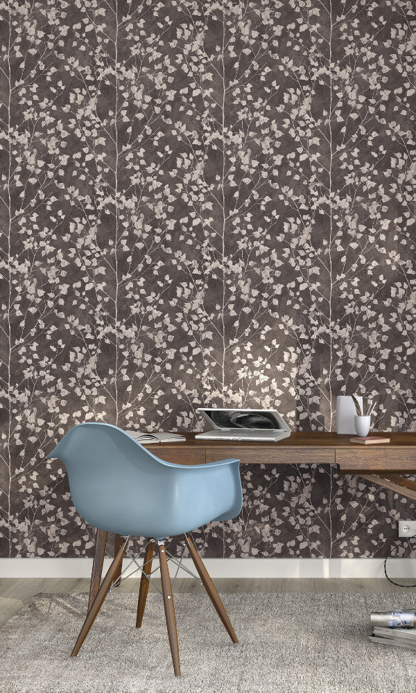 metallic floral home office wallpaper