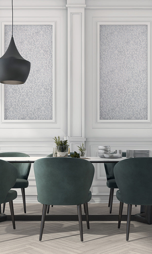 metallic damask dining room wallpaper canada