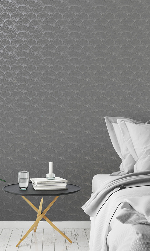 metallic geometric leaves wallpaper